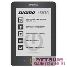 "Электронная книга Digma S683G 6"" E-ink HD Carta 1024x758 Touch Screen/4Gb/microSDHC/frontlight серый"